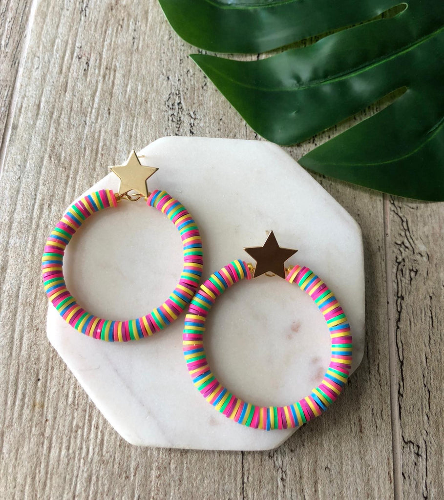 Multi neon earrings