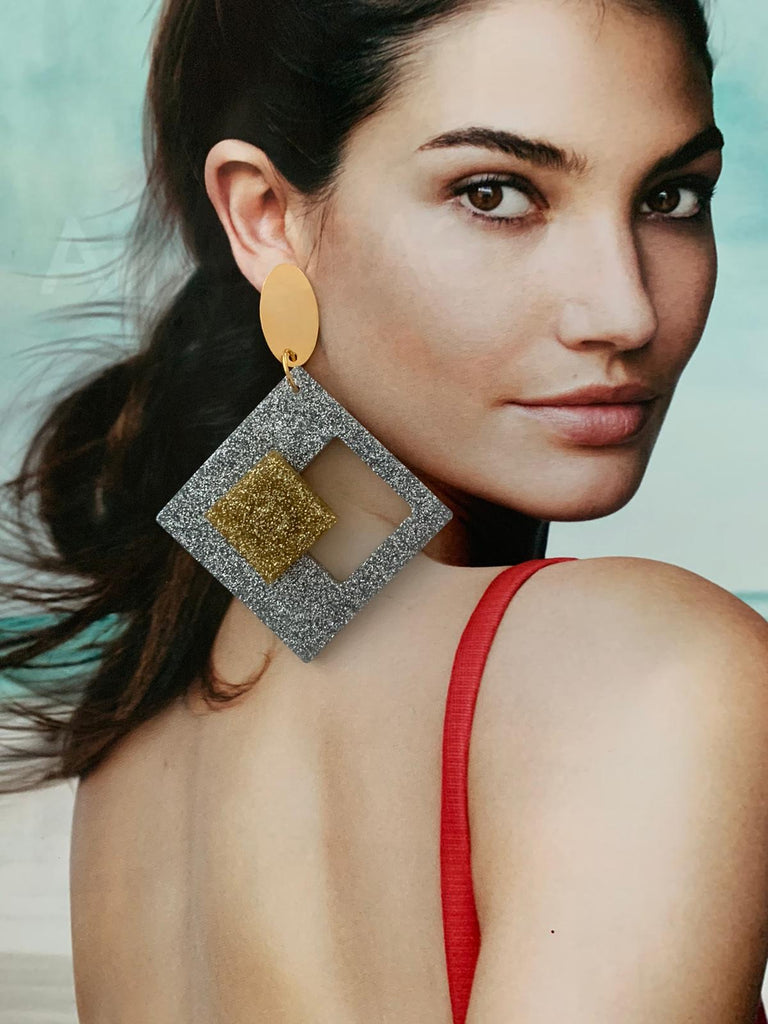Resina square silver & gold earrings