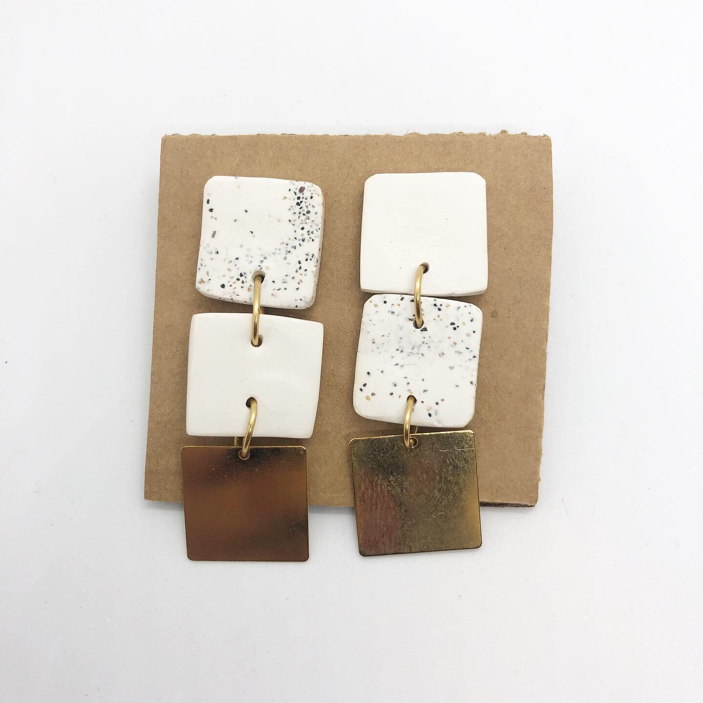 White squares earrings