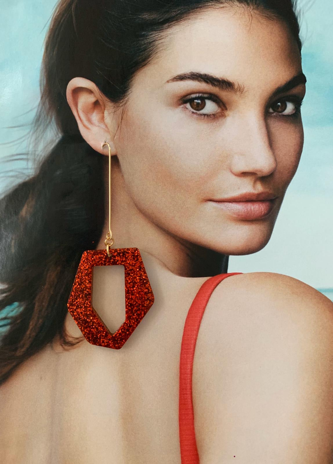 Resina red earrings