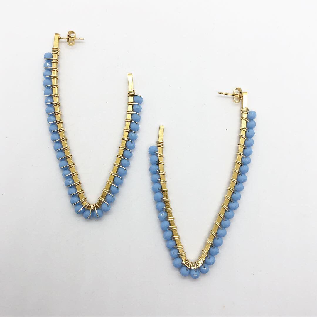 Baby blue V hand wired earrings