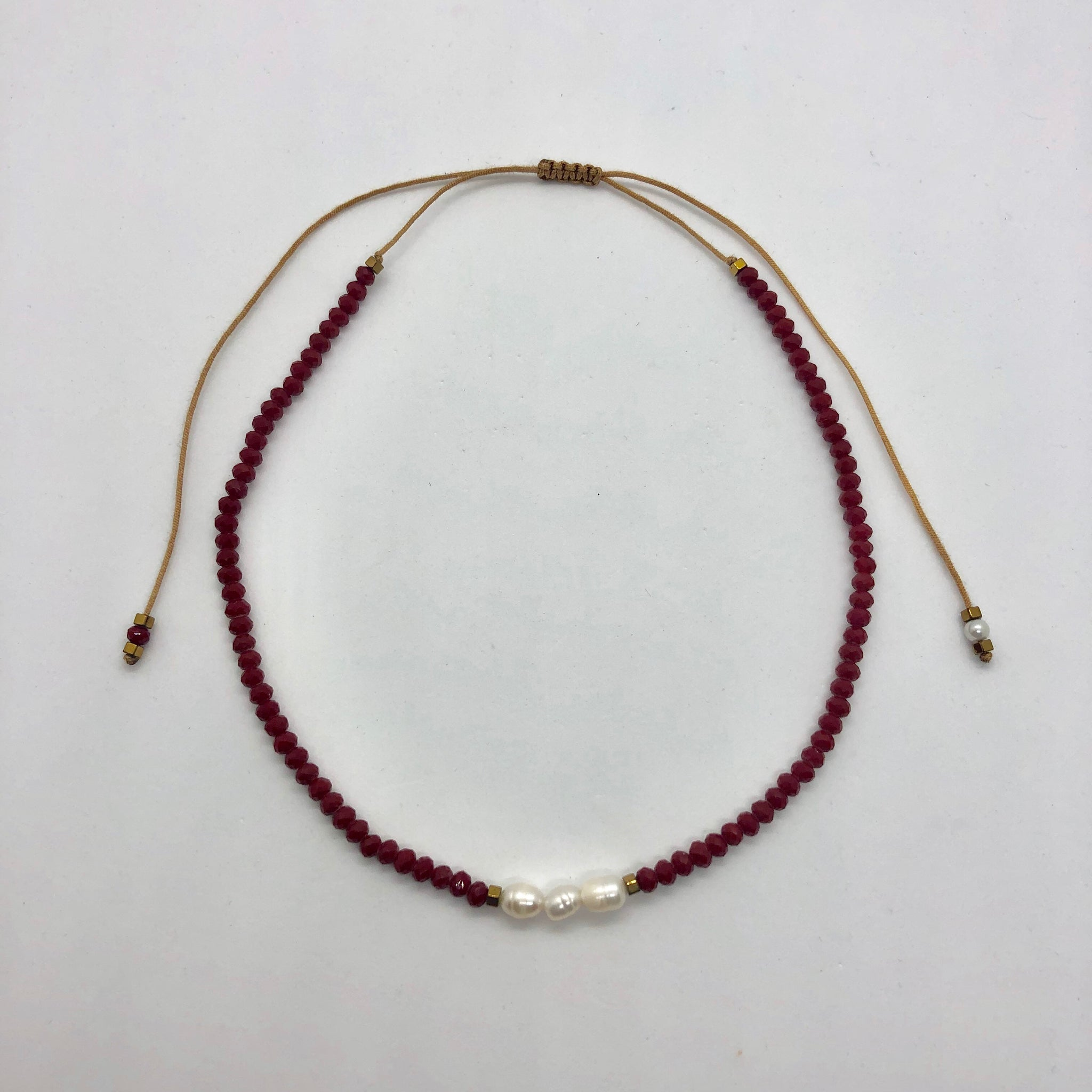 Red with pearls adjustable choker