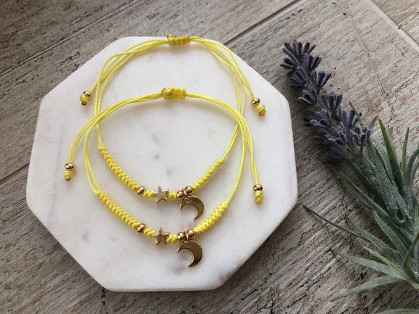 Moon & star yellow adjustable bracelets