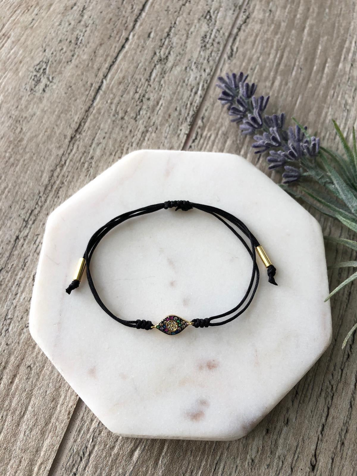 Pavé eye adjustable bracelets
