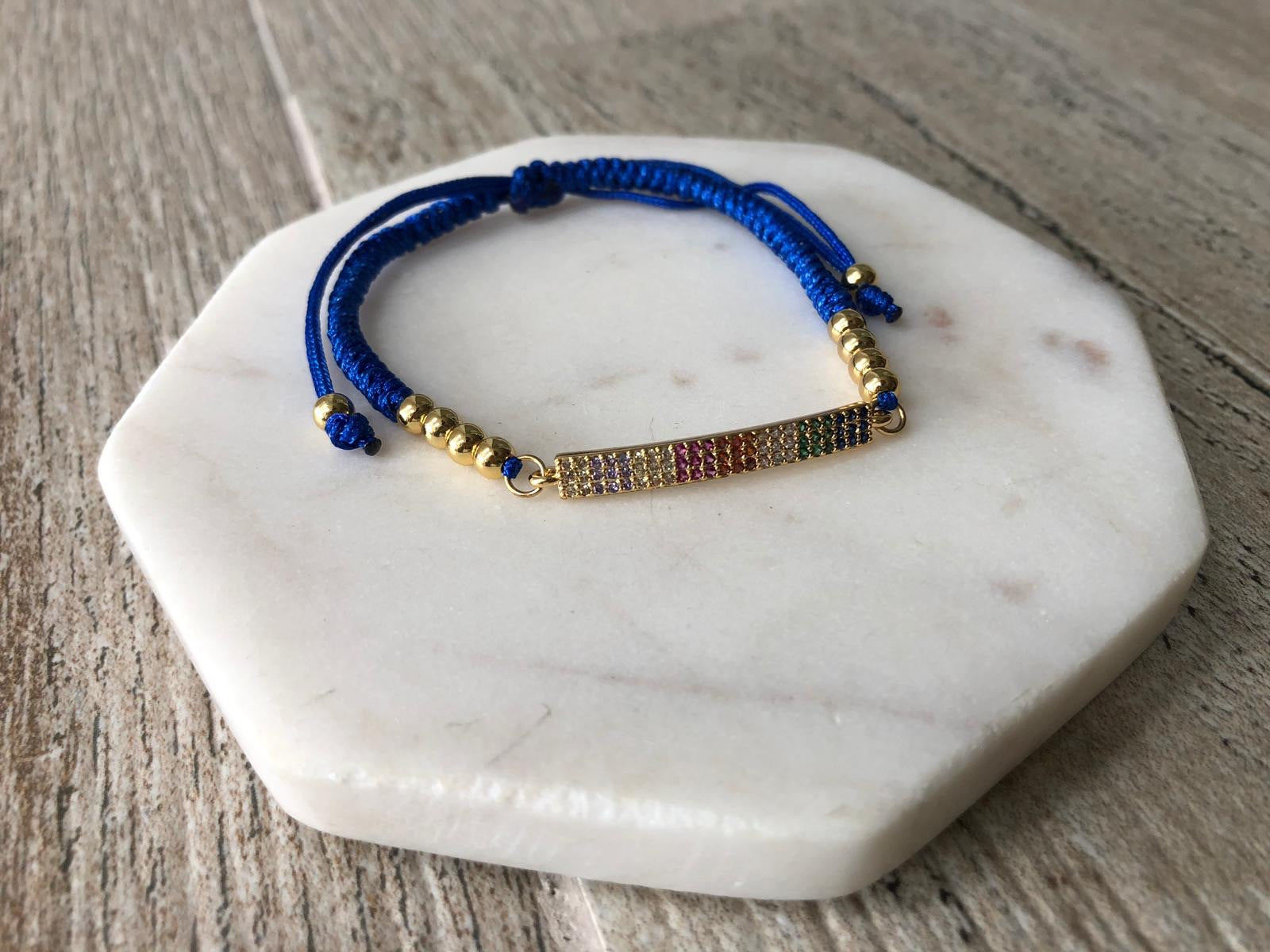 Pavé bar blue adjustable bracelets