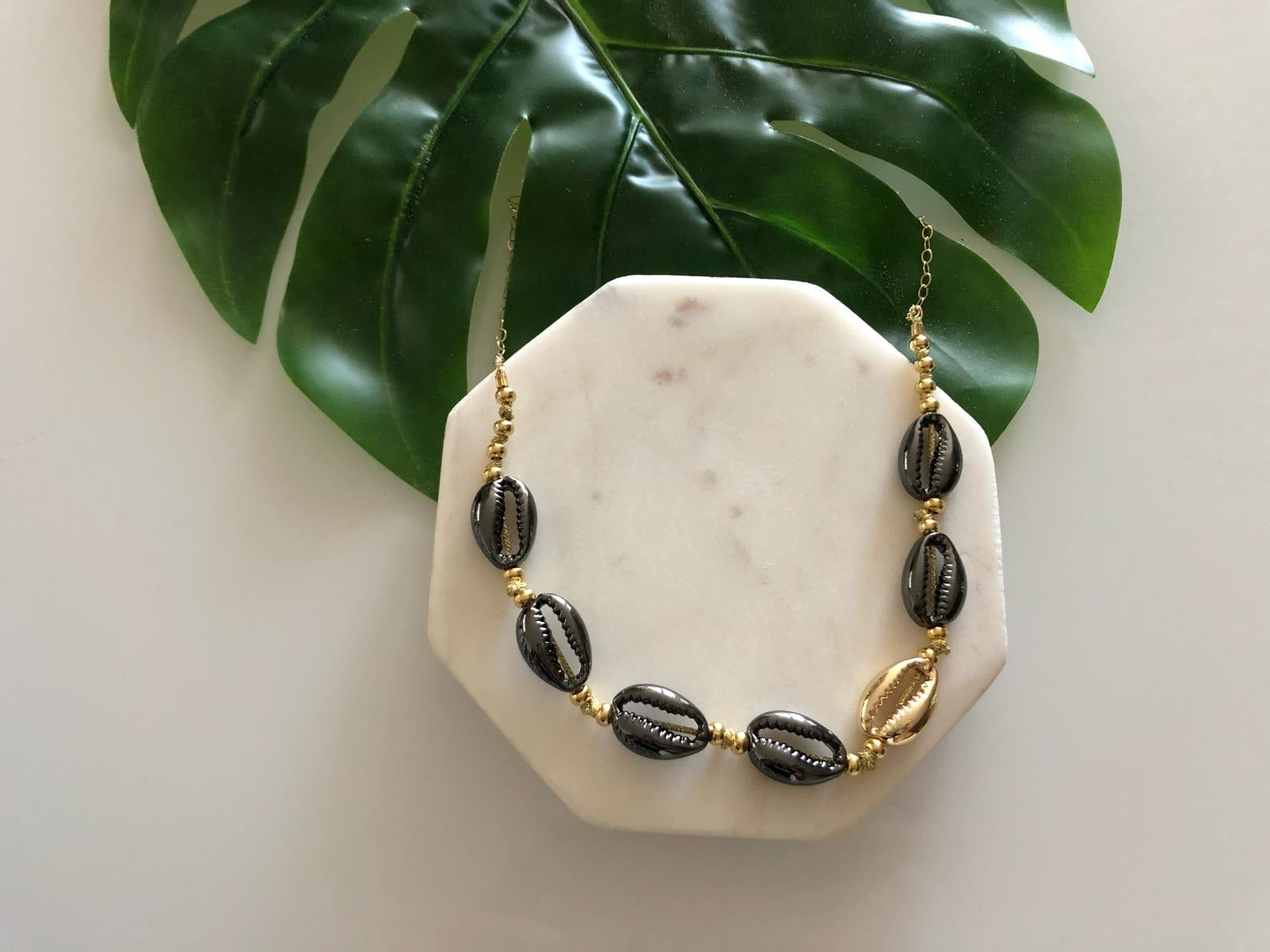 Black cowrie shell adjustable choker