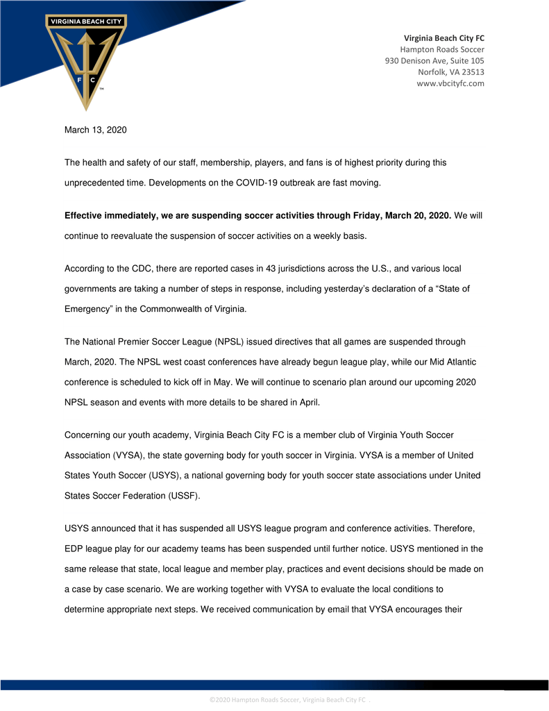 March 13, 2020 Virginia Beach City FC Statement
