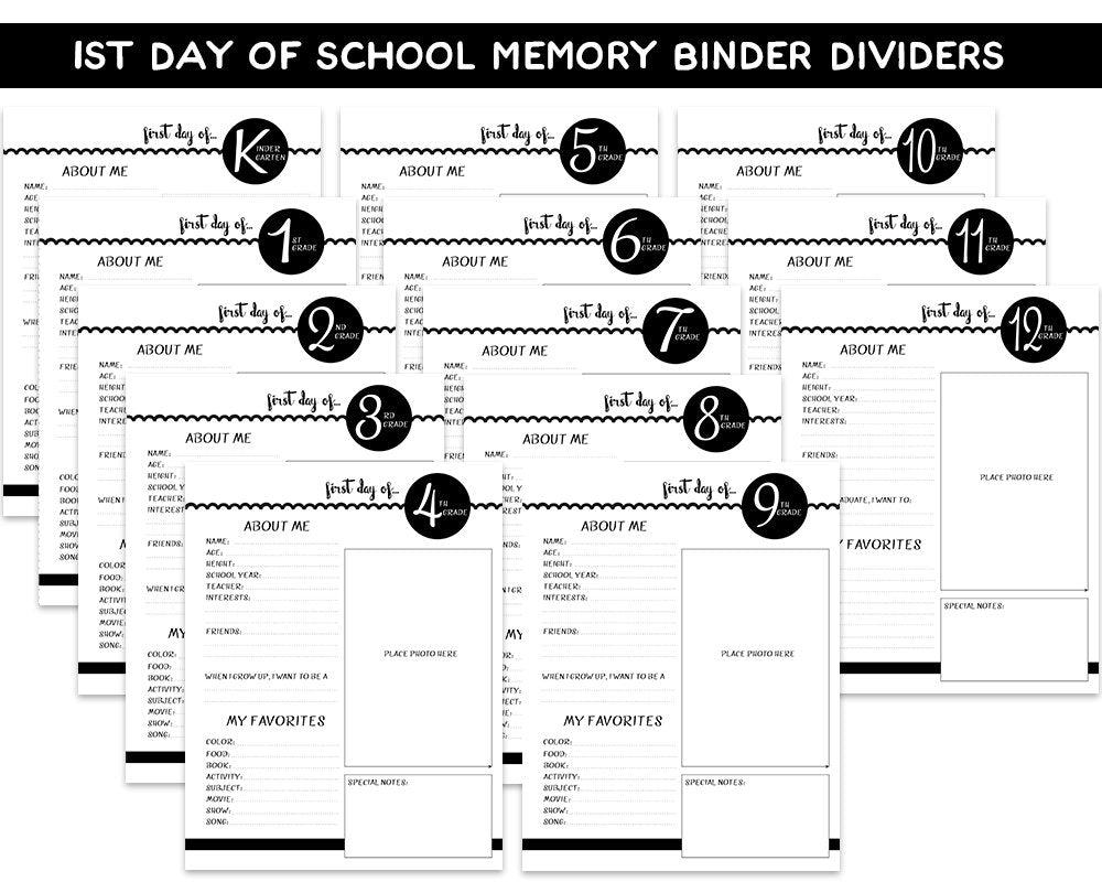 Black and White First Day of School Memory Binder Pages - Blu Nest Bloom