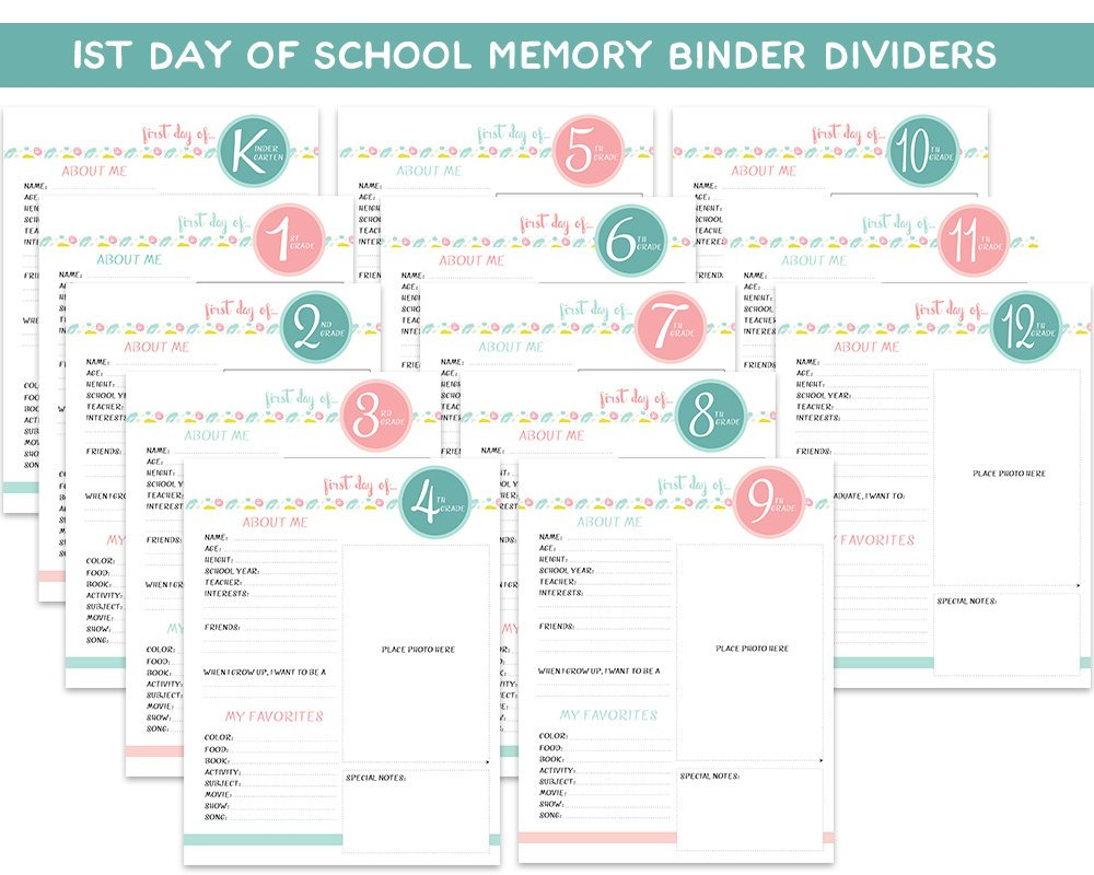 Pastel First Day of School Memory Binder Pages - Blu Nest Bloom