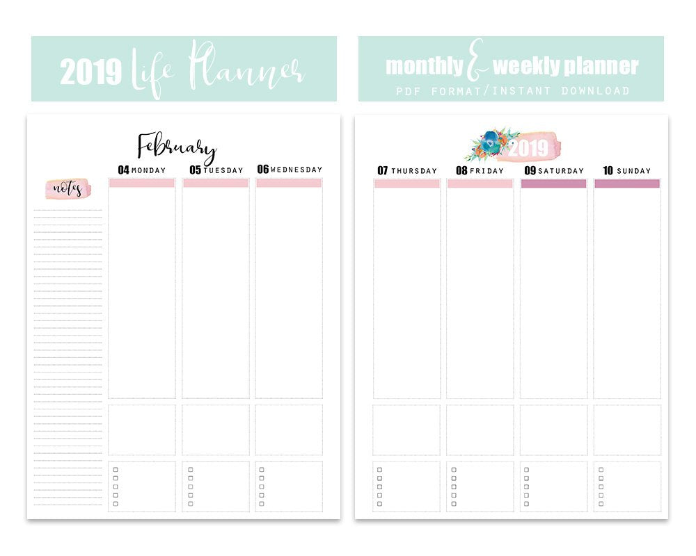 "2019 Weekly Planner - Letter Size 8.5""x11"" - Blu Nest Bloom"