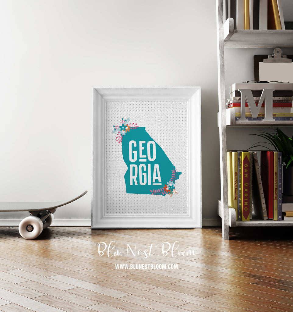 Georgia State Wall Art Printable - Blu Nest Bloom