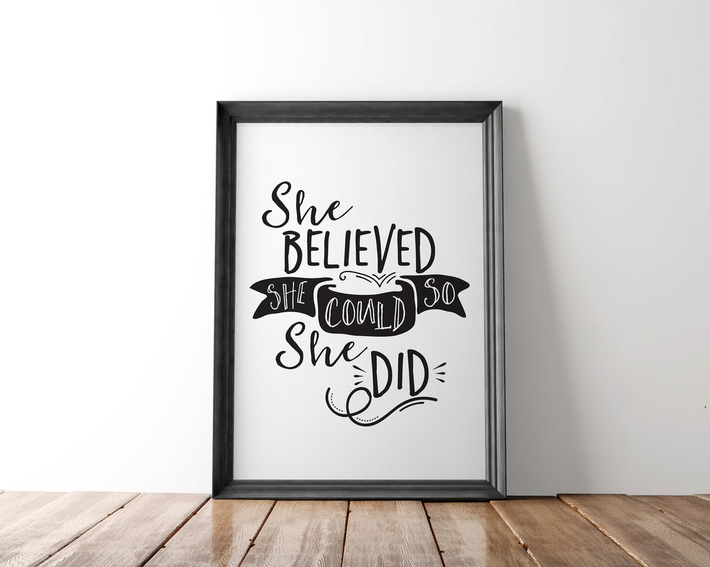 She Believed She Could So She Did Wall Art Printable - Blu Nest Bloom