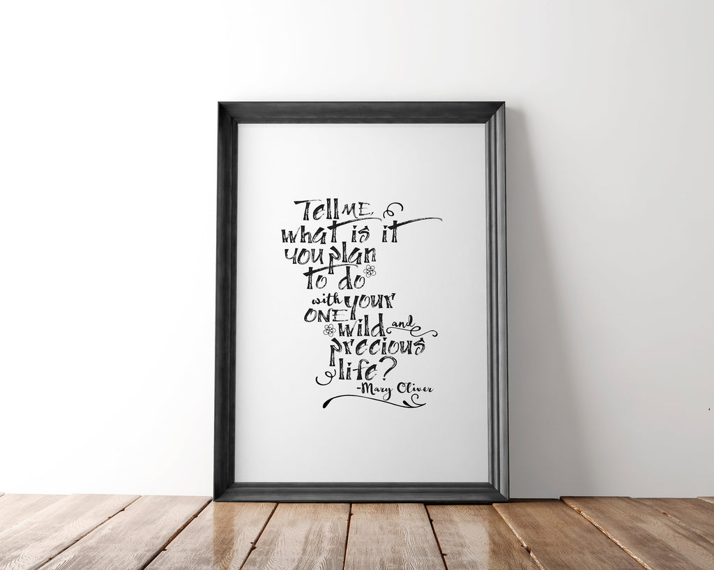 Mary Oliver Quote Wall Art Printable - Blu Nest Bloom