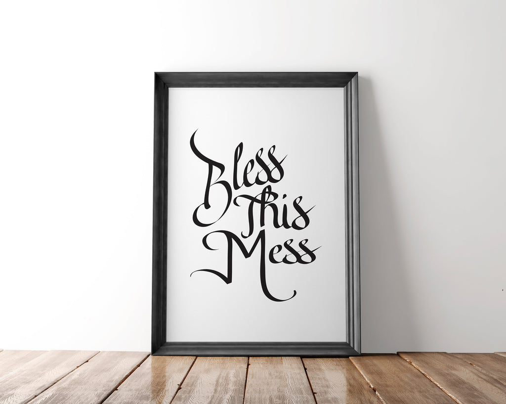 Bless This Mess Wall Art Printable - Blu Nest Bloom