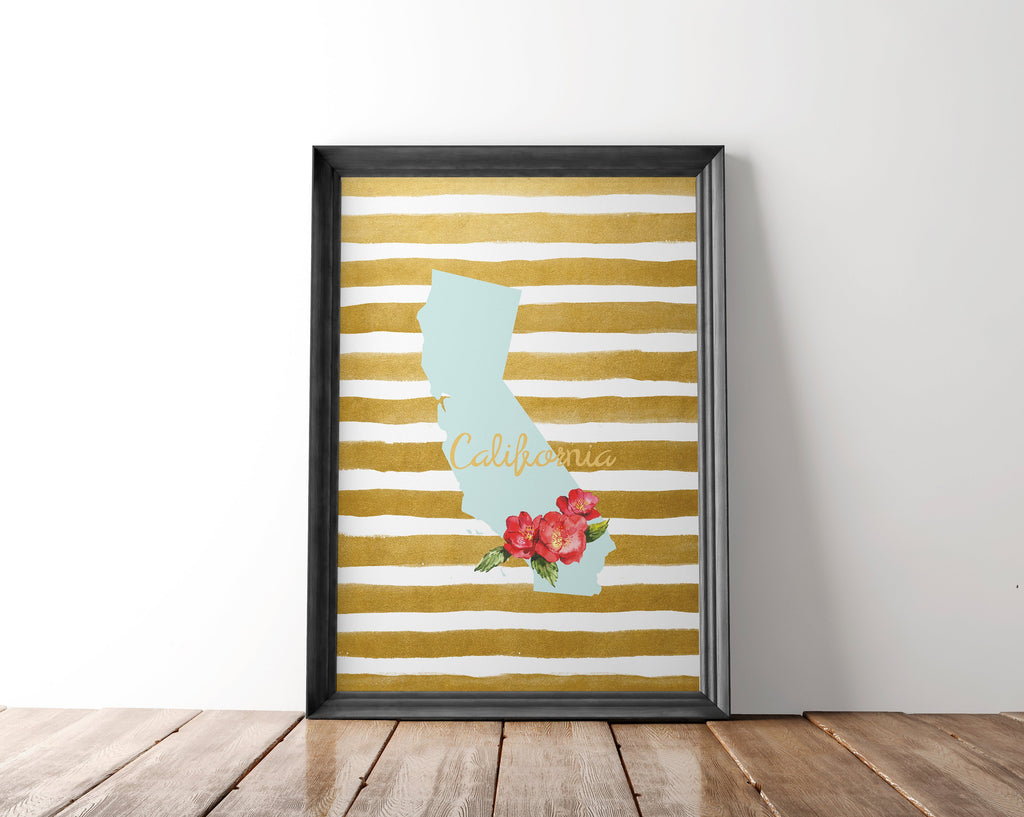 California State Wall Art Printable - Blu Nest Bloom