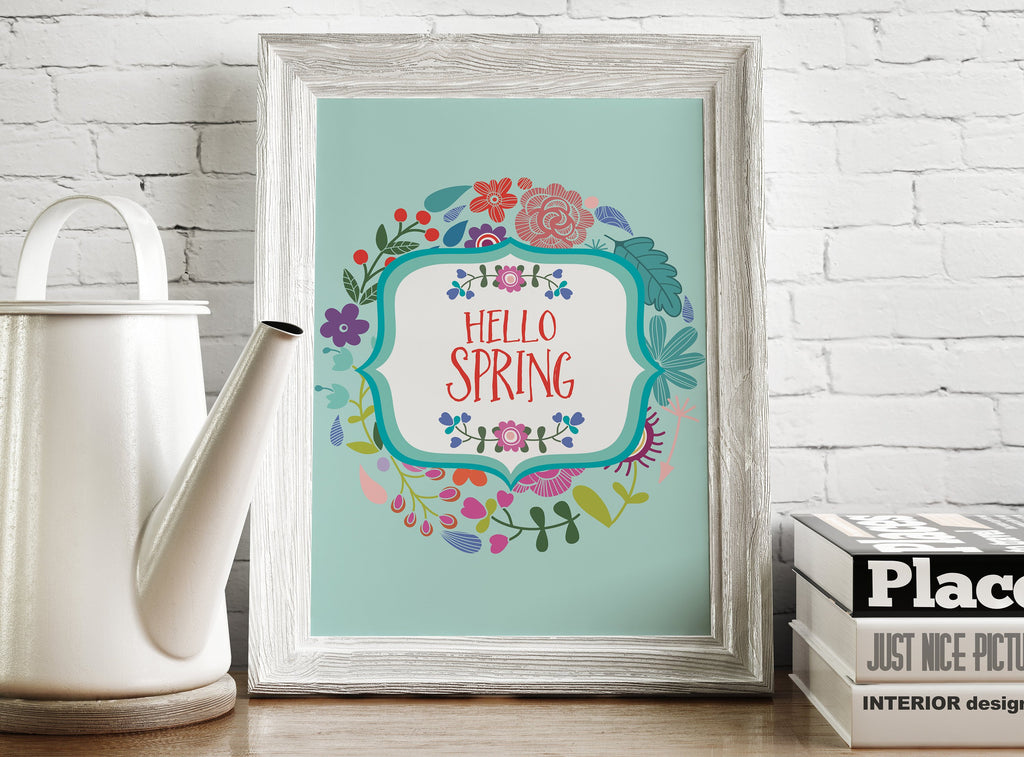 Hello Spring Wall Art Printable - Blu Nest Bloom