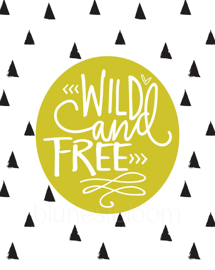 Green Wild and Free Wall Art Printable - Blu Nest Bloom