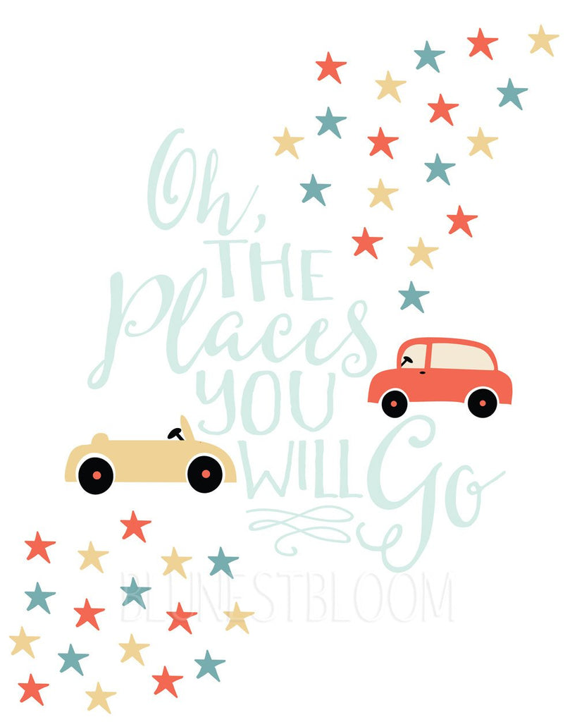 Dr. Seuss Oh The Places You Will Go Wall Art Printable - Blu Nest Bloom