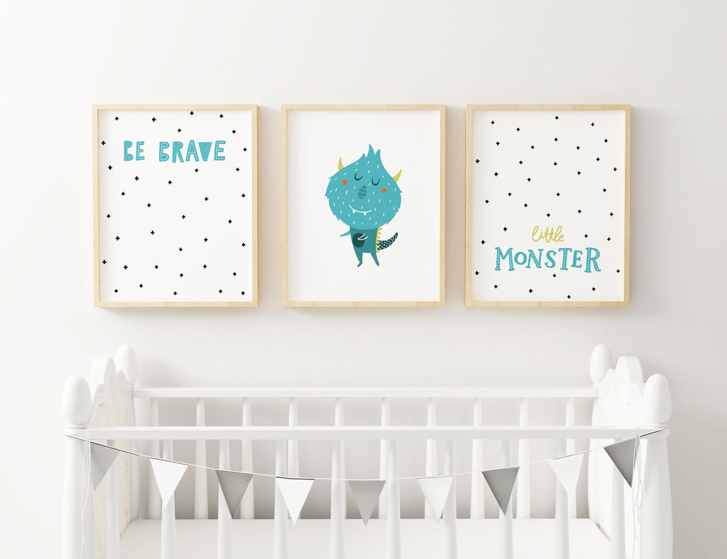3 Piece Monster Wall Art Printable - Blu Nest Bloom