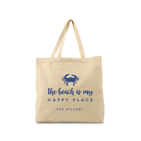 The Beach Is My Happy Place Canvas Tote
