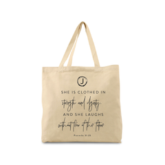 Proverbs 31:25 Canvas Tote