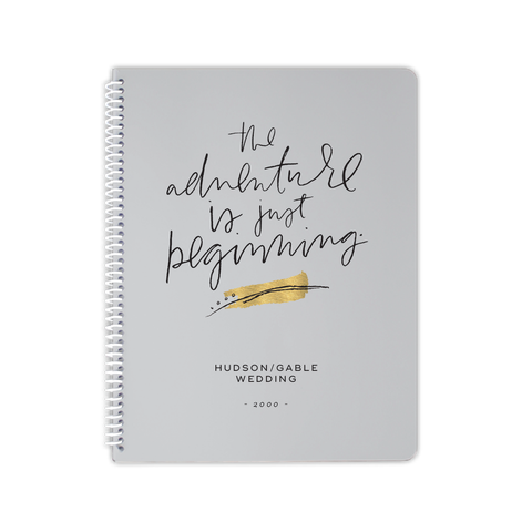 adventure beginning wedding notebook