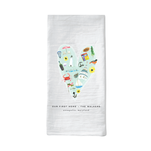 annapolis heart tea towel