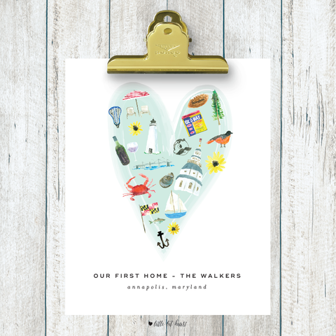 annapolis heart custom art print