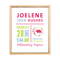 bright elephant birth stats custom kids art print