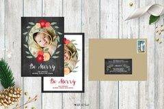 Chalkboard Floral Holiday Photo Card
