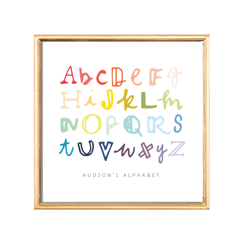 handlettered alphabet custom kids art print
