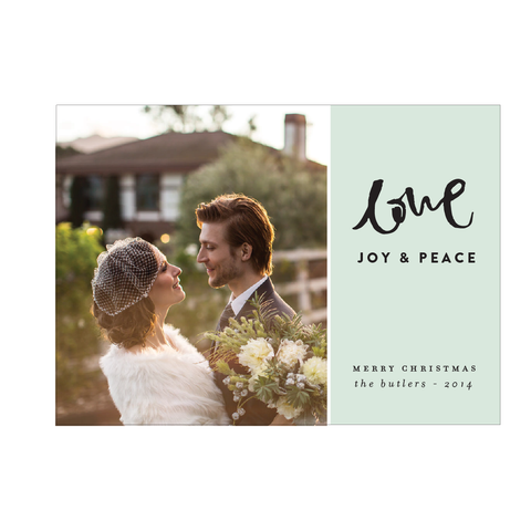Love, Joy, Peace Holiday Photo Card - Pink Collection