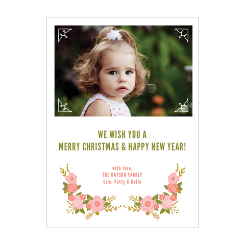 Floral Frame Holiday Photo Card - Pink Collection