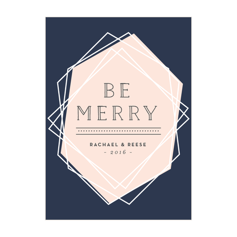 Geometric Be Merry Holiday Card