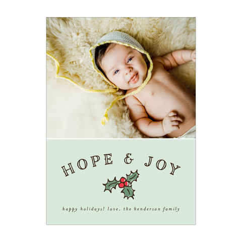 Hope & Joy Holiday Photo Card - Pink Collection