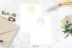 floral wreath stationery