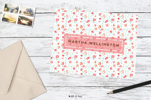 watercolor floral stationery