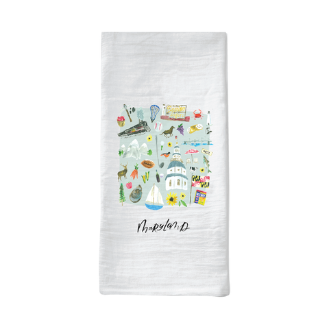 maryland illustrated tea towel