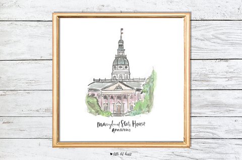 maryland state house art print