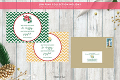 Joyful Chevron Holiday Card - Pink Collection