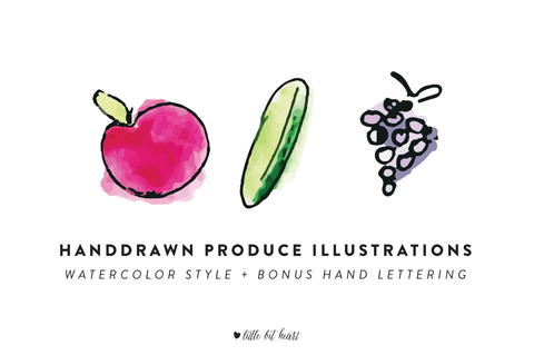 watercolor style handdrawn produce illustrations
