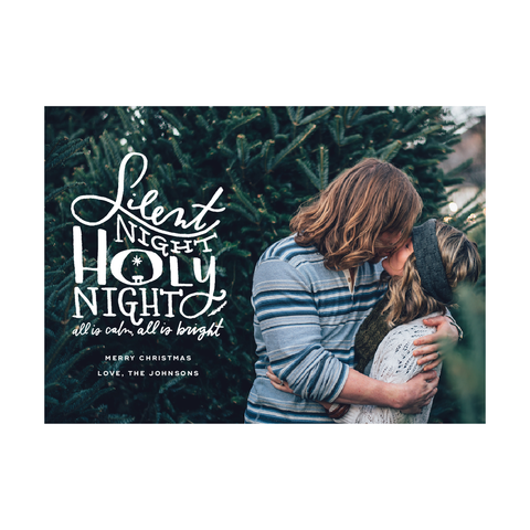 Silent Night Lettered Holiday Photo Card