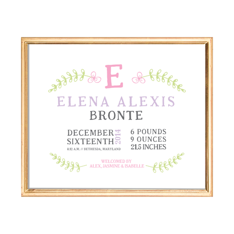 spring bloom birth stats custom kids art print