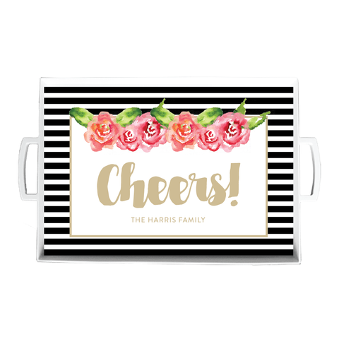 Striped Floral Serving Tray