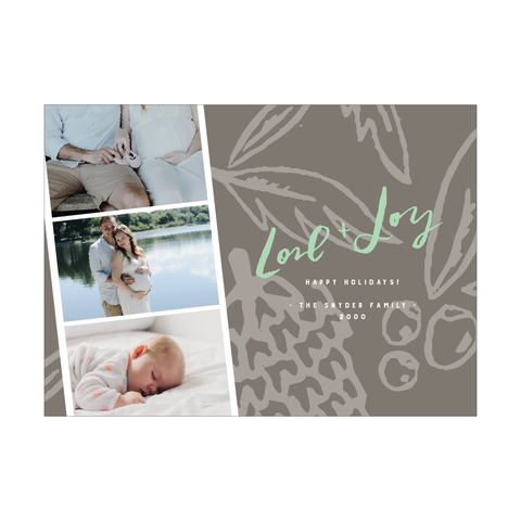 Winter Botanical Love Joy Holiday Photo Card