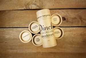 Pinch Skincare All Natural Aluminum Free Deodorant made in Canada, Clean, Green plastic free and zero waste products
