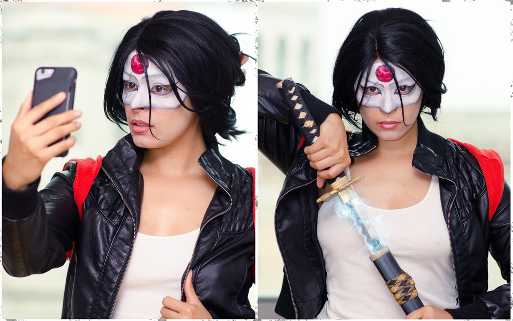 Becka Noel as Katana wearing Espionage Cosmetics