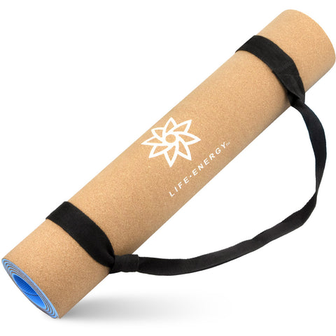 Life Energy 5mm EkoSmart Cork Yoga Mat with Yoga Strap - Pure Fitness