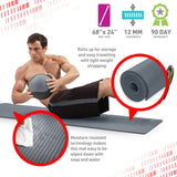 Pure Fitness 12mm High Density Exercise Mat - Charcoal - Pure Fitness