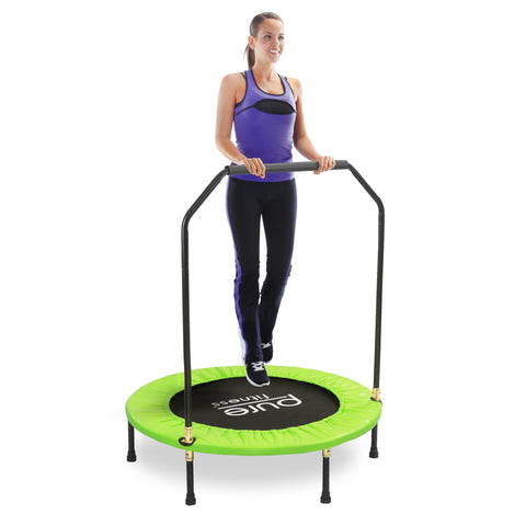 Pure Fitness 40-inch Exercise Trampoline with Handrail - Pure Fitness